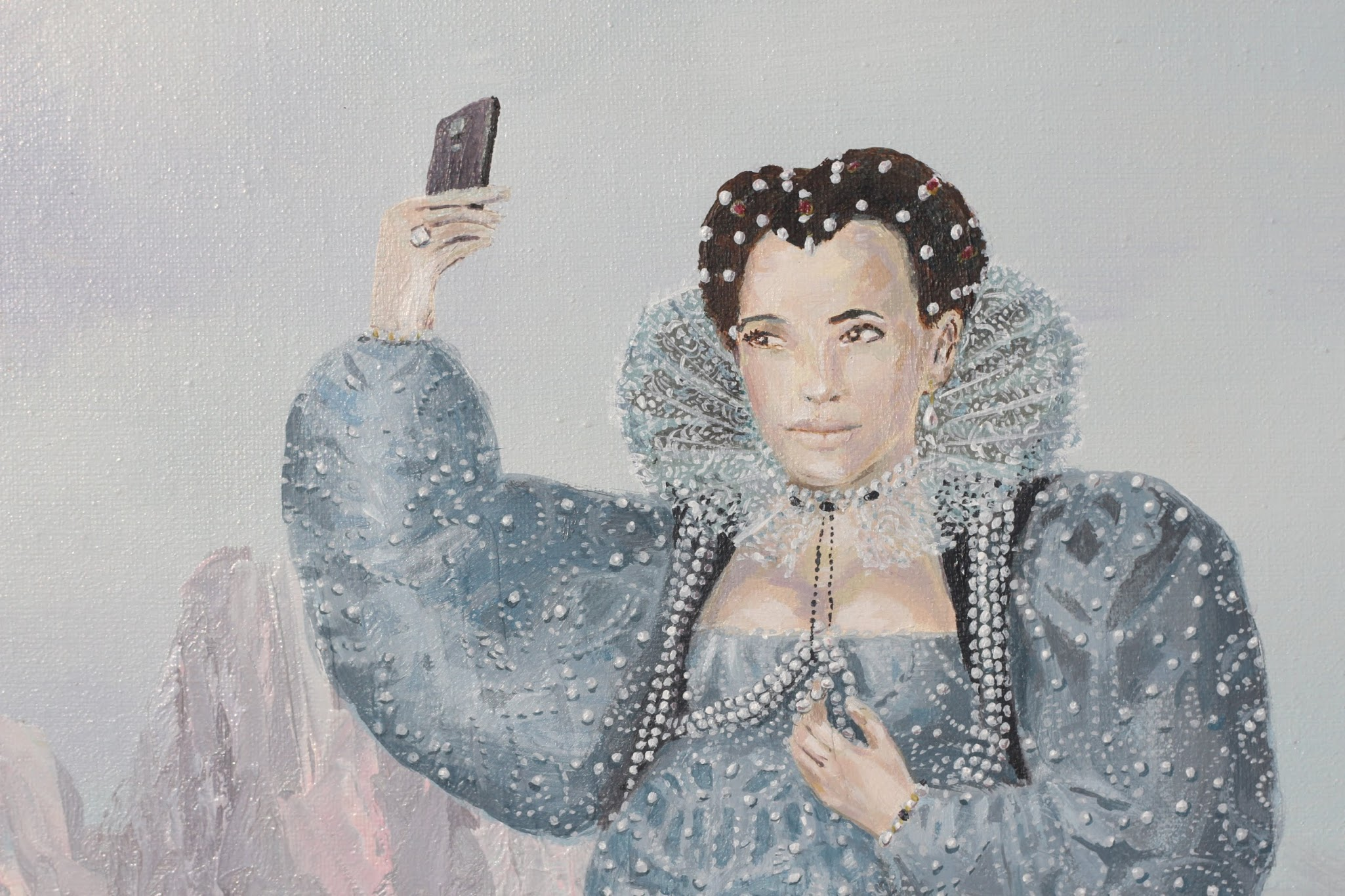 Queen Kim Kardashian Selfie, English Royals in the Desert, Acrylic on Mixed Medium
